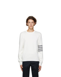 Thom Browne White Milano Stitch 4 Bar Sweater