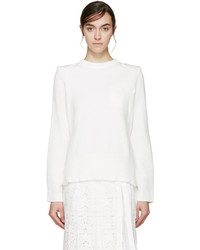 Sacai White Open Back Sweater