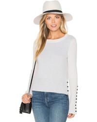 White + Warren Button Crew Neck Sweater