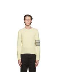 Thom Browne White Wool 4 Bar Sweater