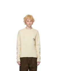 Jil Sander White Wool And Silk Metal Decoration Sweater