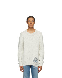 Maison Margiela White Wool Destroyed Hem Sweater