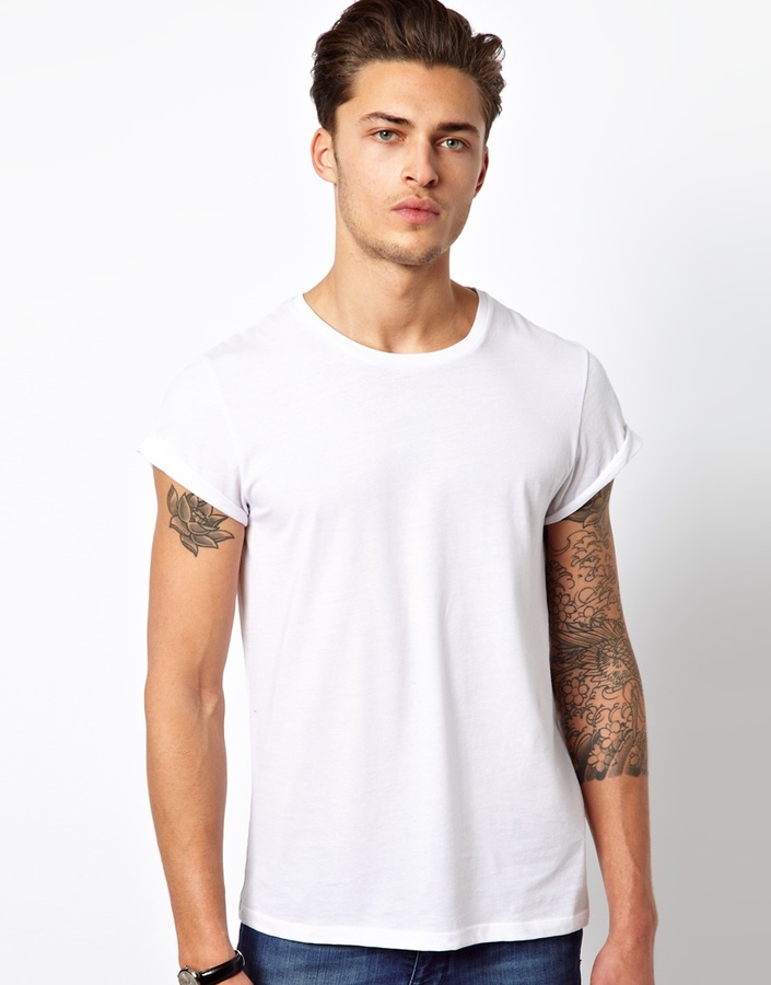Asos Brand T Shirt With Crew Neck And Roll Sleeve Where