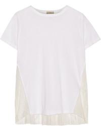 Clu Lace And Silk Paneled Cotton Blend T Shirt White