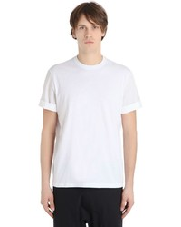 Neil Barrett Cotton Jersey T Shirt W Poplin Sleeves