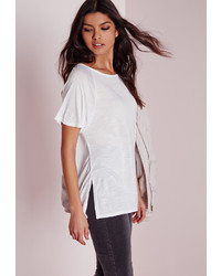 Missguided Crew Neck Raglan Split Side T Shirt White