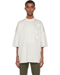 Giorgio Armani Grey Organic Cotton Mock Neck T Shirt