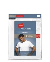 Hanes Knitwear Hanes Premium 6pk Crew Neck T Shirt White S
