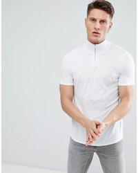 ASOS DESIGN Knitted Muscle Fit Turtle Neck T Shirt With Zip In White
