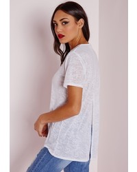 Missguided Reptile Burn Out Split Back Tee White