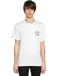 Saint Laurent No Smoking Detail Cotton Jersey T Shirt