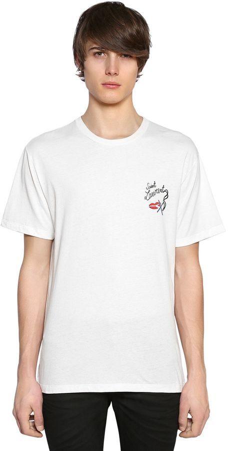 Saint Laurent No Smoking Detail Cotton Jersey T Shirt