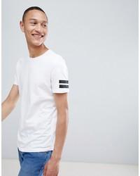 Jack & Jones Originals Longline T Shirt With Curved Hem And Arm Stripes
