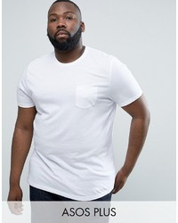 Asos Plus T Shirt With Crew Neck And Pocket In White