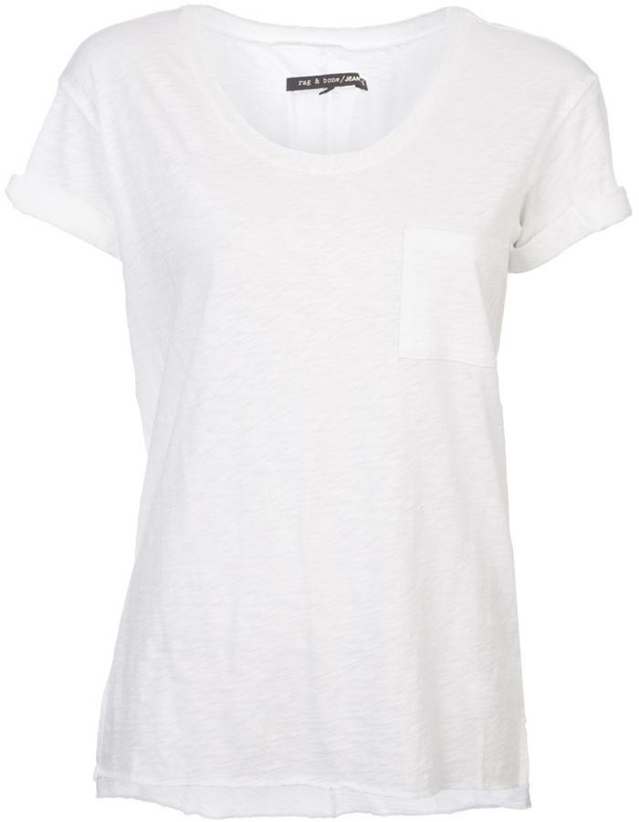 White Crew Neck T Shirt Rag And Bone Rag Bone Slub Knit T