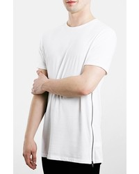 Topman Slim Fit Longline T Shirt With Side Zip Detail