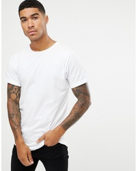 Pull&Bear T Shirt In White With Curved Hem