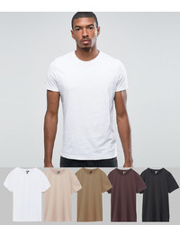 ASOS DESIGN T Shirt With Crew Neck 5 Pack Save