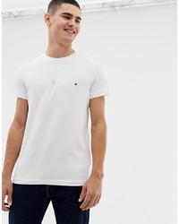 Tommy Hilfiger T Shirt With Flag Logo In Stretch Slim Fit In White