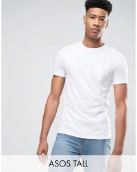 Asos Tall T Shirt With Crew Neck And Pocket In White