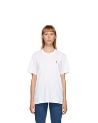 AMI Alexandre Mattiussi White Ami De Coeur T Shirt