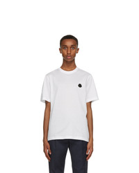 Moncler White And Black Logo T Shirt