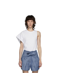 3.1 Phillip Lim White Asymmetric Sleeve T Shirt
