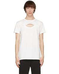 Alexander McQueen White Cut Out Graffiti T Shirt