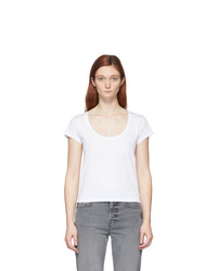 Frame White Le High Rise Scoop T Shirt