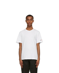 Moncler White Logo Sleeve T Shirt