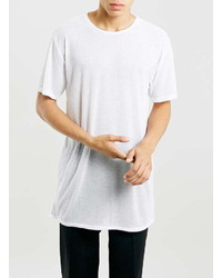Topman White Longline Ribbed T Shirt