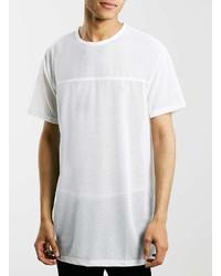 Topman White Mesh Longline T Shirt