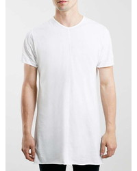 Topman White Raw Edge Slim Fit Longline T Shirt