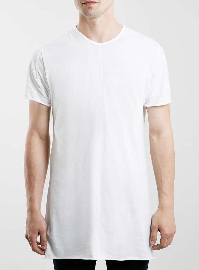 0139f5cf Topman White Raw Edge Slim Fit Longline T Shirt, $35   Topman ...