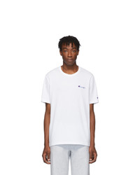Champion Reverse Weave White Small Script T Shirt