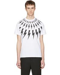Neil Barrett White Thunderbolt T Shirt