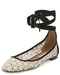 Tabitha Simmons Daria Daisy Crochet Ankle Wrap Flat