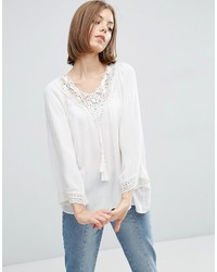 Vila White Blouse With Crochet Neck And Tassels