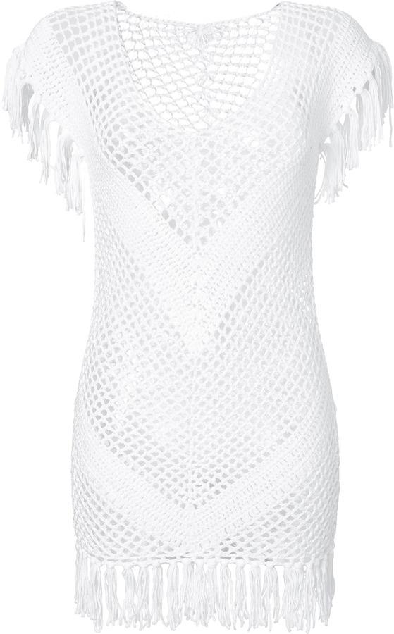 d1a6f41b98890 ... White Crochet Casual Dresses Melissa Odabash Crochet Mini Dress With  Fringe Trim ...