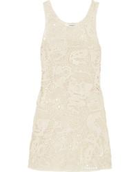 Saint Laurent Crocheted Cotton Mini Dress