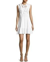 Redvalentino sleeveless crochet cotton dress w embroidered flowers white medium 5449760