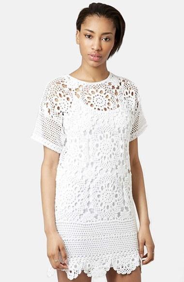 9d4546980ac2 Topshop Short Sleeve Crochet Dress