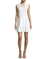 RED Valentino Sleeveless Crochet Cotton Dress W Embroidered Flowers White