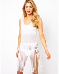 Asos Crochet Fringed Beach Tank Dress