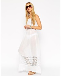 Asos Collection Broderie Hem Bandeau Maxi Beach Dress