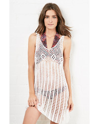 Glamorous Crochet Tunic Tank Dress In White Xs L