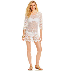 J Valdi Floral Crochet Tunic Cover Up