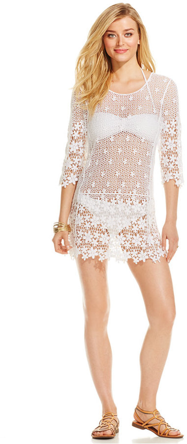 127a01f687 J Valdi Floral Crochet Tunic Cover Up, $60 | Macy's | Lookastic.com