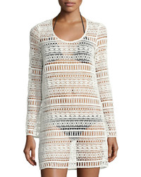 Tavik Freedom Long Sleeve Crochet Coverup White