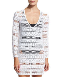 Milly Mykonos Crocheted Long Sleeve Tunic Coverup